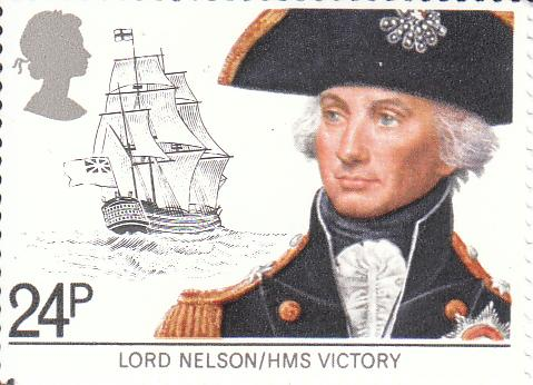 """Марка поштова негашена. """"Lord Nelson/HMS Victory"""". Сполучене Королівство Великої Британії та Північної Ірландії"""