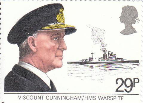 "Марка поштова негашена. ""Viscount Cunningham/HMS Warspite"""