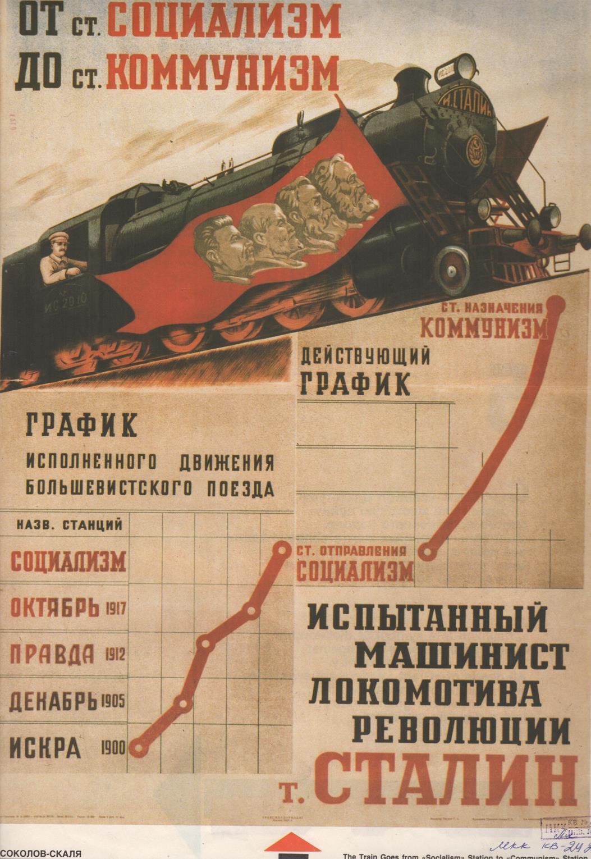 """Плакат """"Поезд идёт от ст. Социализм до ст. Коммунизм"""""""