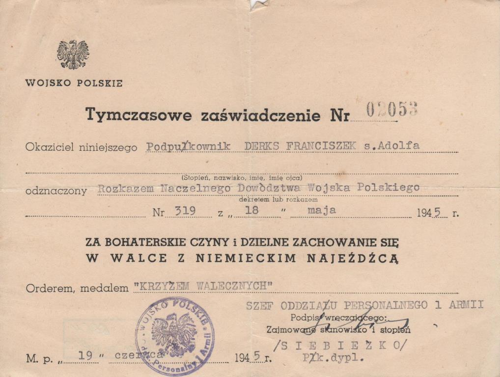 """Документ. """"Тимчасове посвідчення №02053 підполковника Деркса Ф. А."""""""
