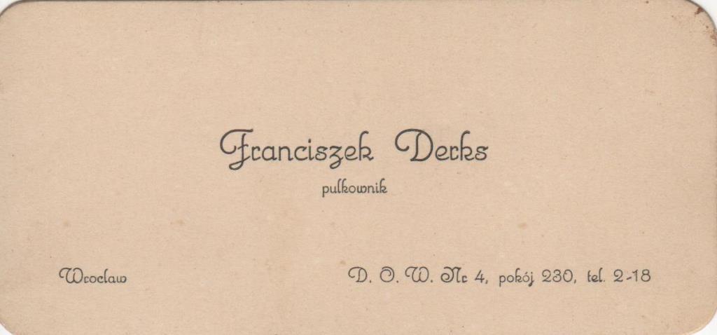 """Документ. """"Візитівка полковника Ф. Деркса"""""""