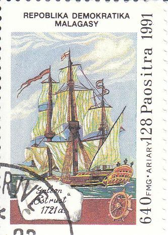 "Марка поштова гашена. ""Galeon ""Estrust""  1721 a. Repoblika Demokratika Malagasy"". 1991"
